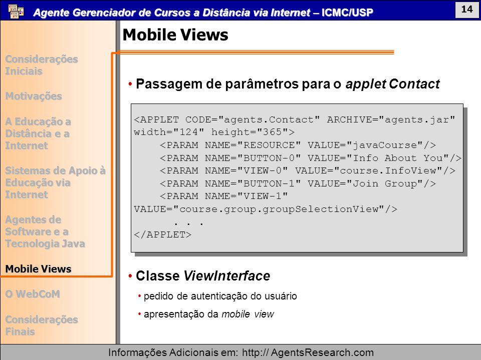 Mobile Views Passagem de parâmetros para o applet Contact