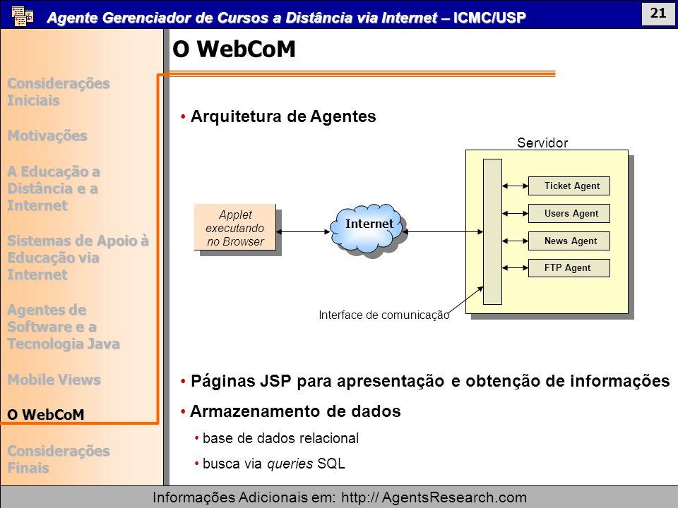 O WebCoM Arquitetura de Agentes