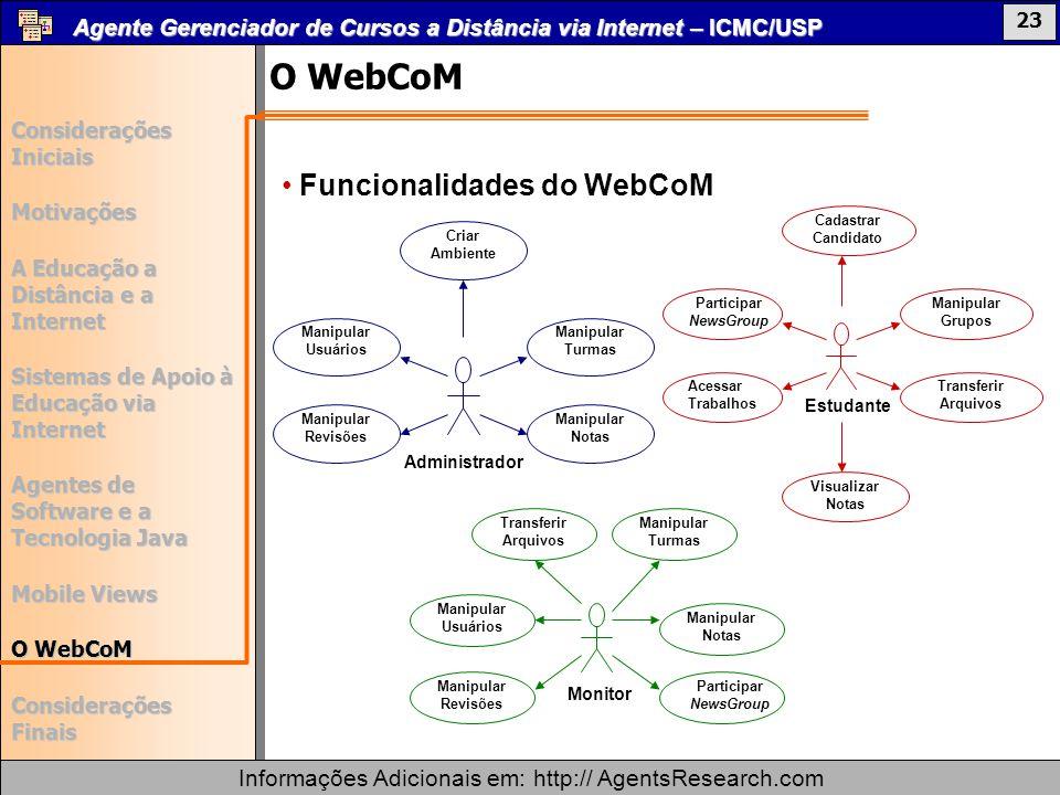 O WebCoM Funcionalidades do WebCoM