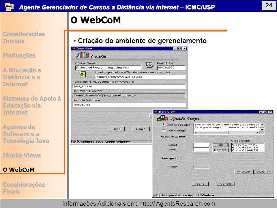 O WebCoM Criação do ambiente de gerenciamento