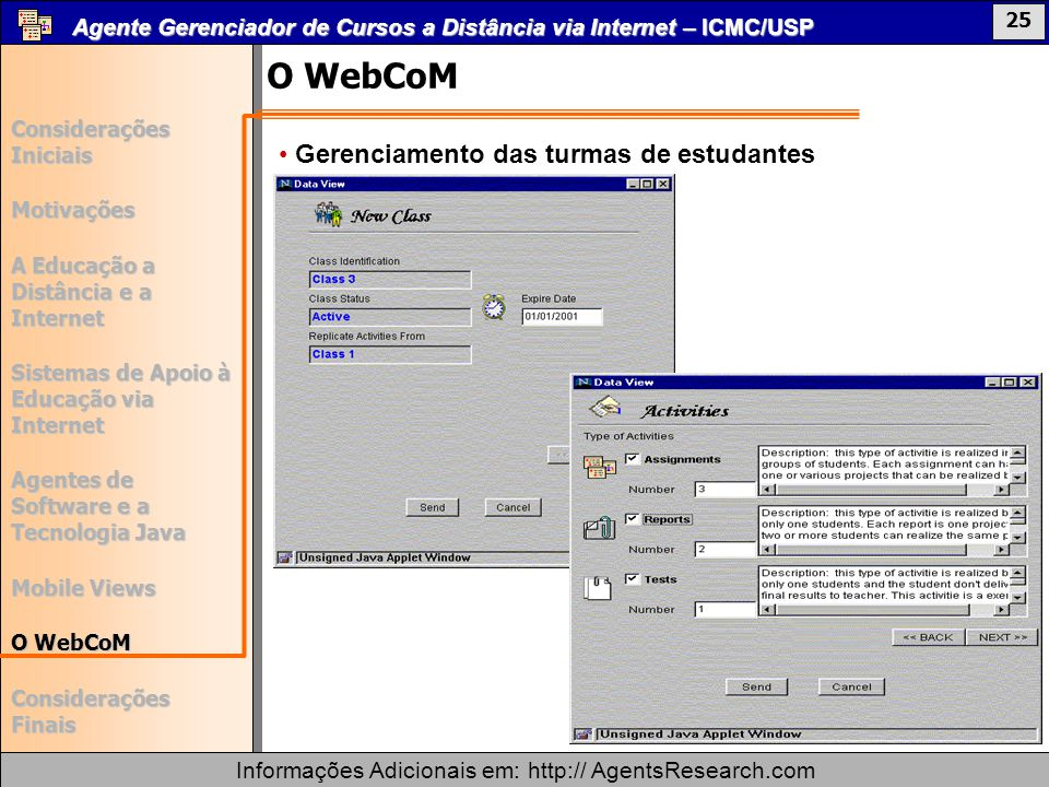 O WebCoM Gerenciamento das turmas de estudantes