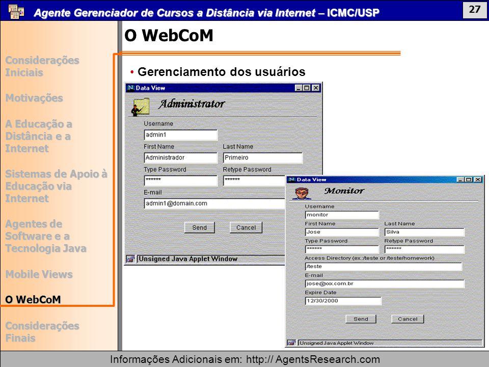 O WebCoM Gerenciamento dos usuários