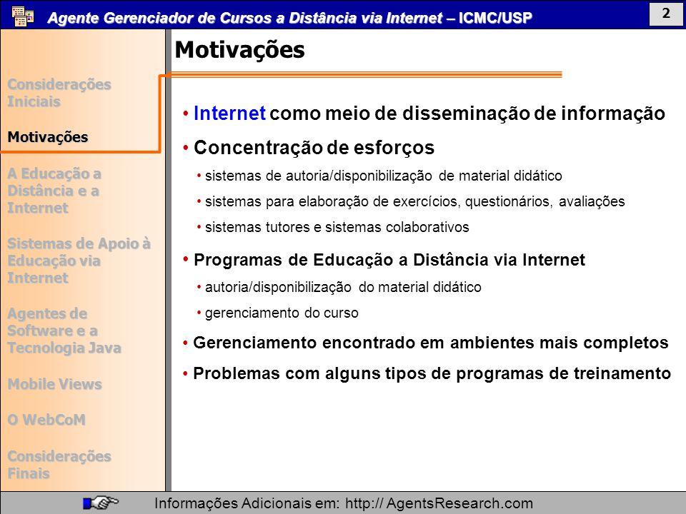 Motivações Internet como meio de disseminação de informação