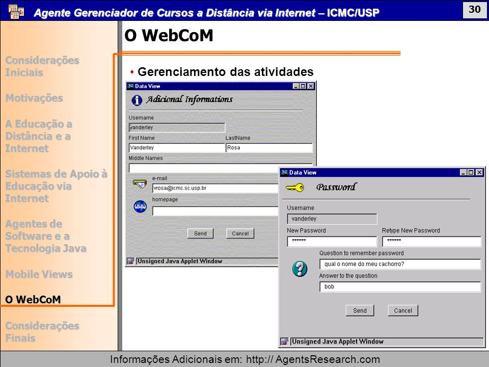 O WebCoM Gerenciamento das atividades