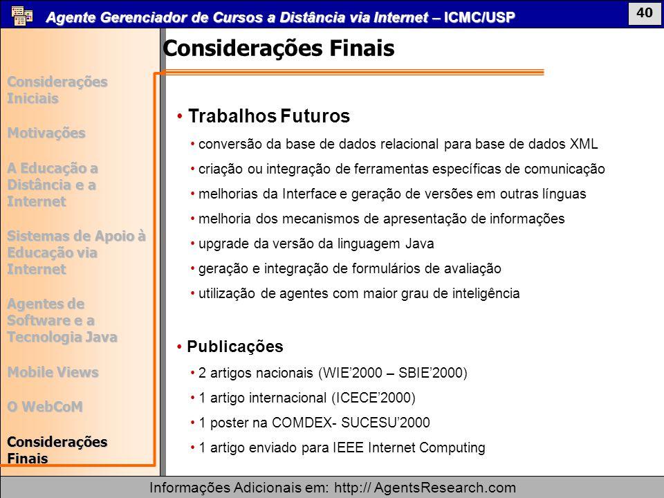 Considerações Finais Trabalhos Futuros Publicações