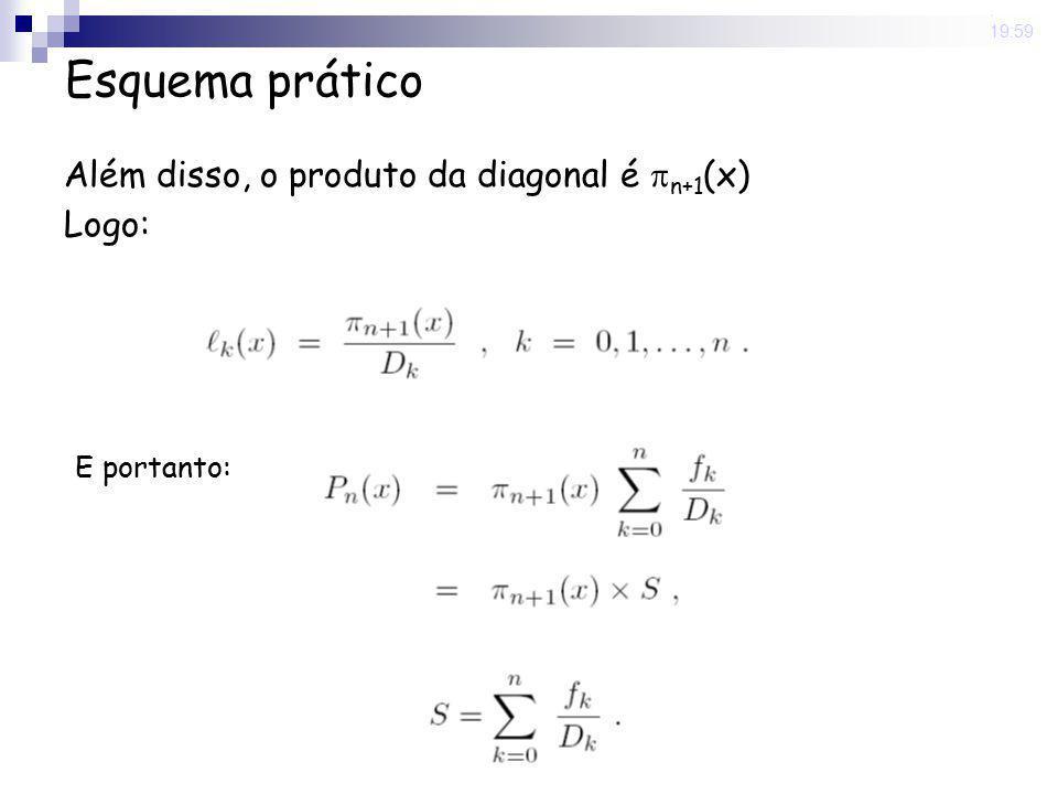 Esquema prático Além disso, o produto da diagonal é n+1(x) Logo: