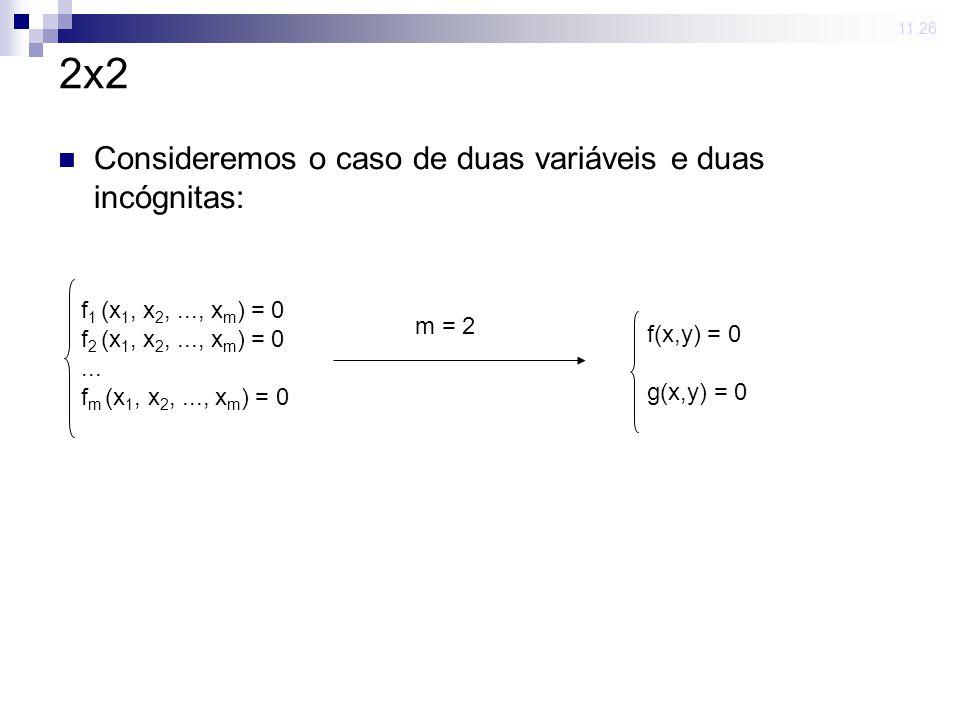2x2 Consideremos o caso de duas variáveis e duas incógnitas: