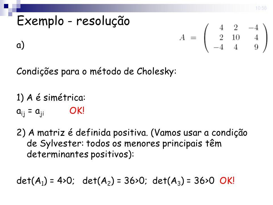 Exemplo - resolução a) Condições para o método de Cholesky: