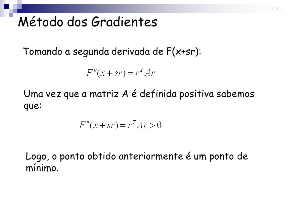 Método dos Gradientes Tomando a segunda derivada de F(x+sr):