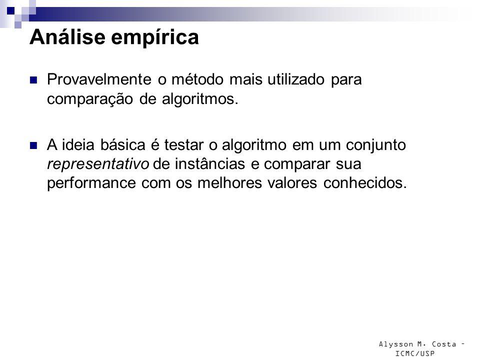 Análise empírica Provavelmente o método mais utilizado para comparação de algoritmos.
