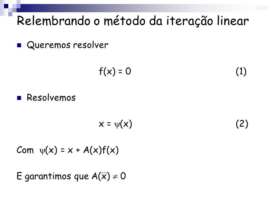 Relembrando o método da iteração linear