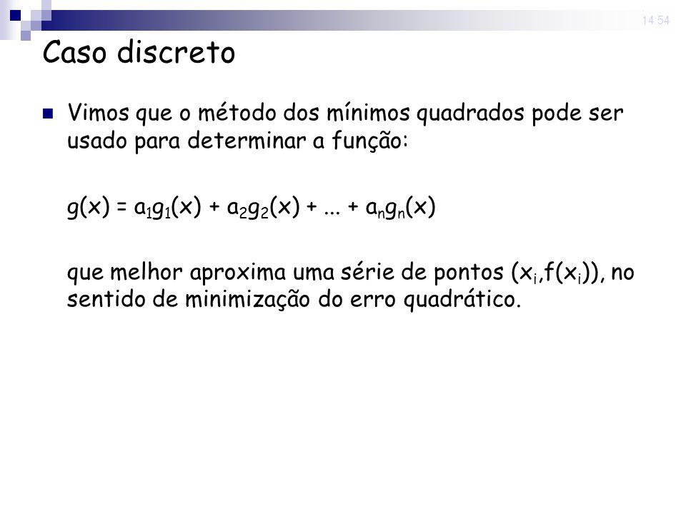13 Jun 2008 . 14:54 Caso discreto. Vimos que o método dos mínimos quadrados pode ser usado para determinar a função: