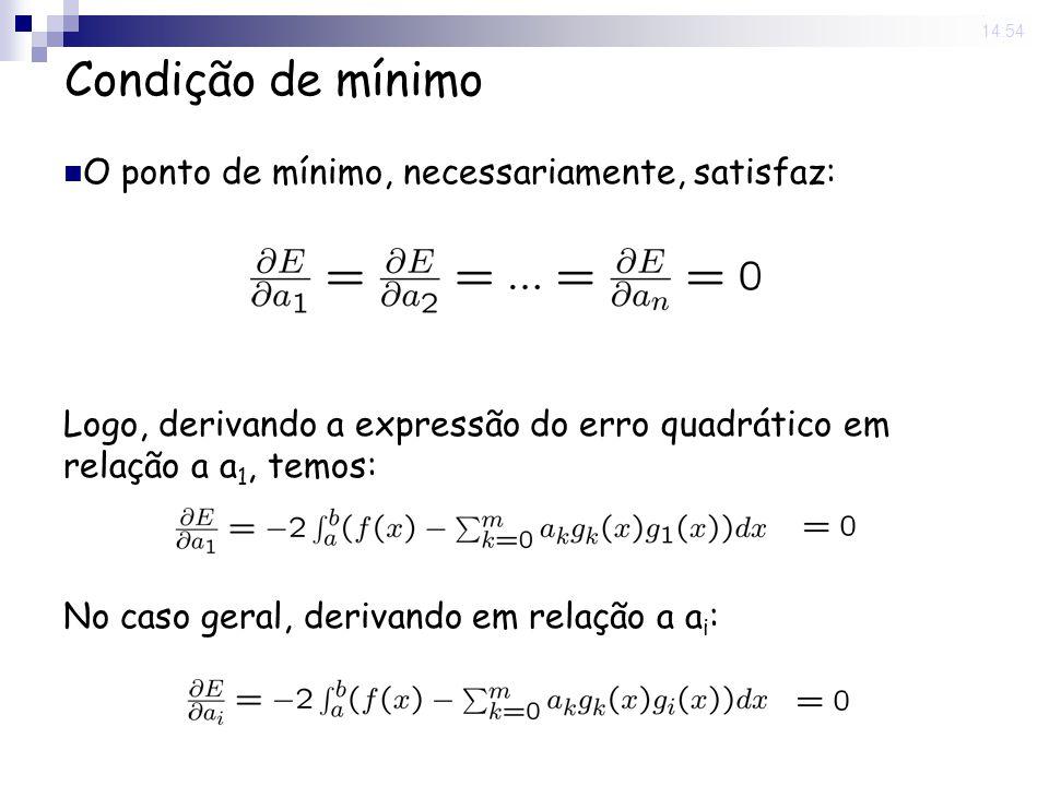 Condição de mínimo O ponto de mínimo, necessariamente, satisfaz: