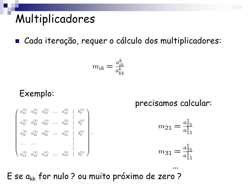 Multiplicadores Cada iteração, requer o cálculo dos multiplicadores:
