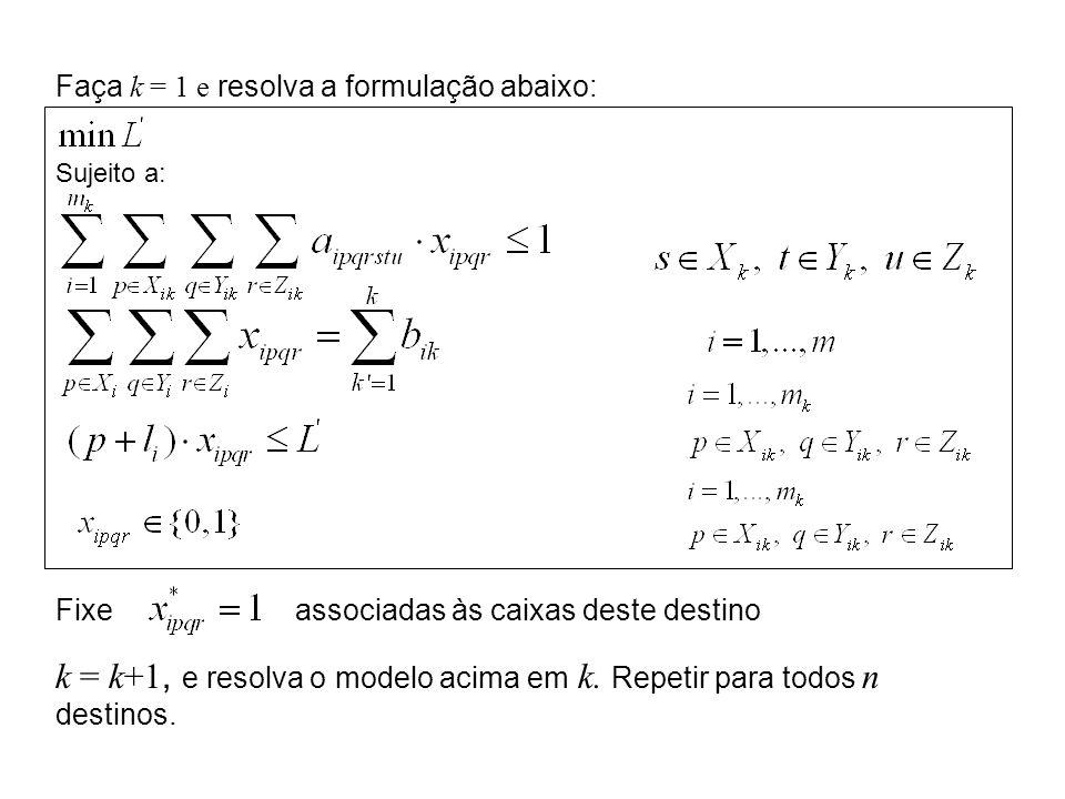 k = k+1, e resolva o modelo acima em k. Repetir para todos n destinos.