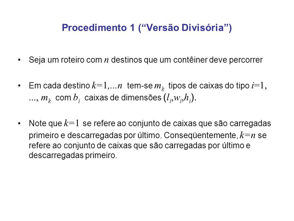 Procedimento 1 ( Versão Divisória )