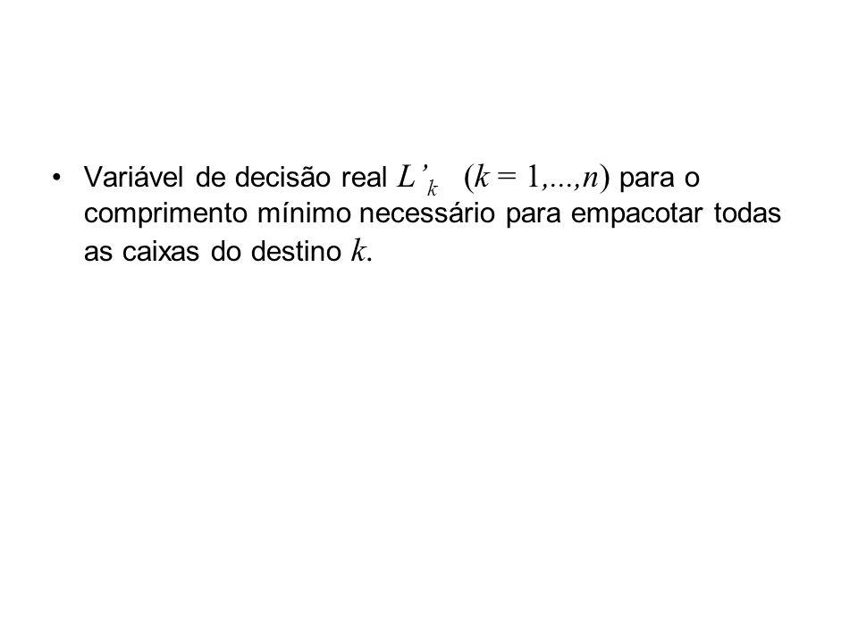 Variável de decisão real L'k (k = 1,