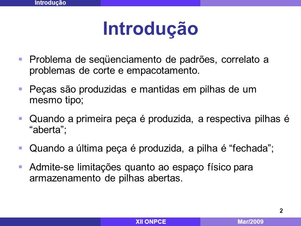Introdução Mestrado - ITA. Dez/2008. Introdução. Problema de seqüenciamento de padrões, correlato a problemas de corte e empacotamento.