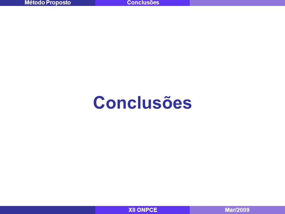 Conclusões Método Proposto Conclusões XII ONPCE Mestrado - ITA