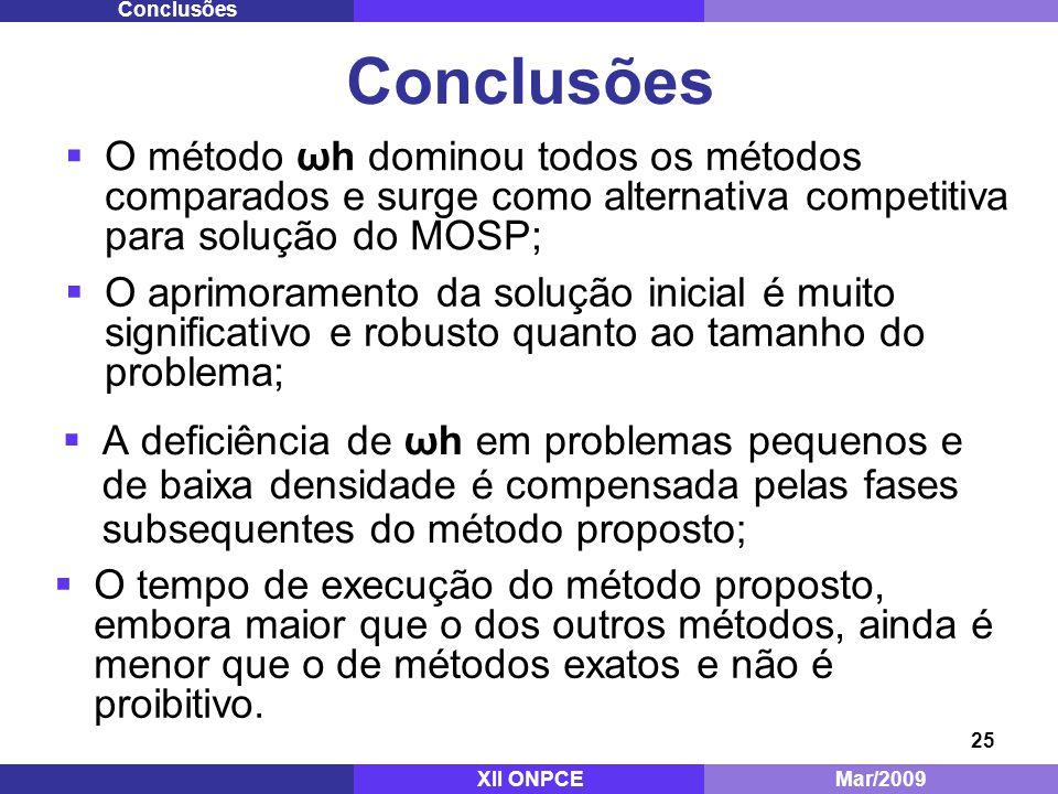 Conclusões Conclusões. O método ωh dominou todos os métodos comparados e surge como alternativa competitiva para solução do MOSP;