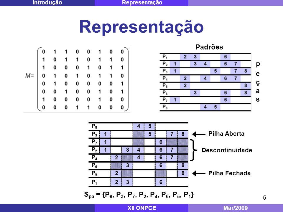 Representação Padrões Peças Spa = {P8, P3, P7, P2, P4, P6, P5, P1}