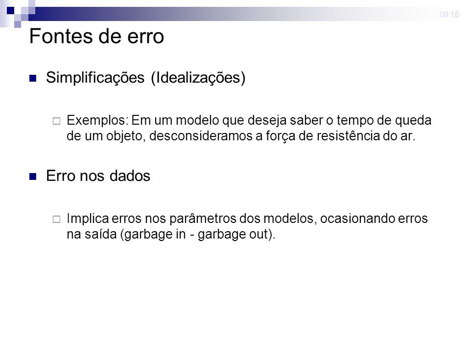 Fontes de erro Simplificações (Idealizações) Erro nos dados