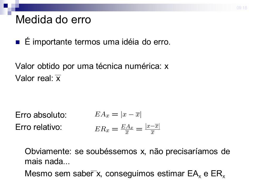 Medida do erro É importante termos uma idéia do erro.