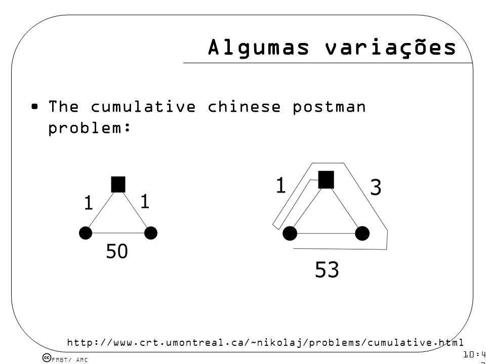 Algumas variações The cumulative chinese postman problem: