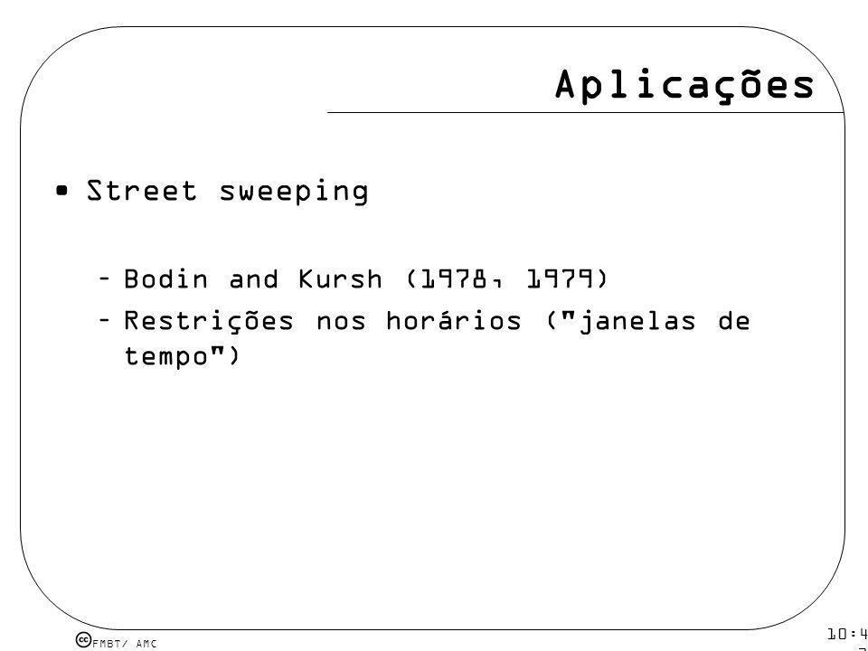 Aplicações Street sweeping Bodin and Kursh (1978, 1979)