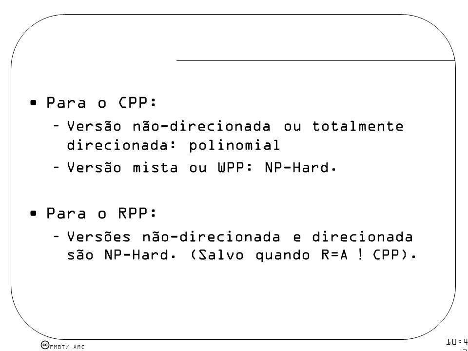 Para o CPP: Versão não-direcionada ou totalmente direcionada: polinomial. Versão mista ou WPP: NP-Hard.