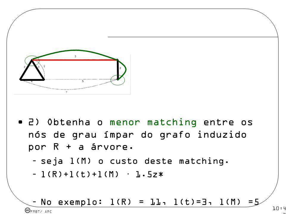 2) Obtenha o menor matching entre os nós de grau ímpar do grafo induzido por R + a árvore.