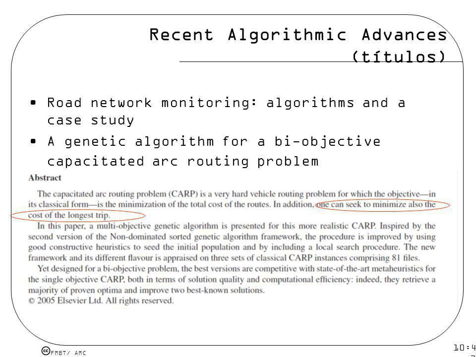 Recent Algorithmic Advances (títulos)