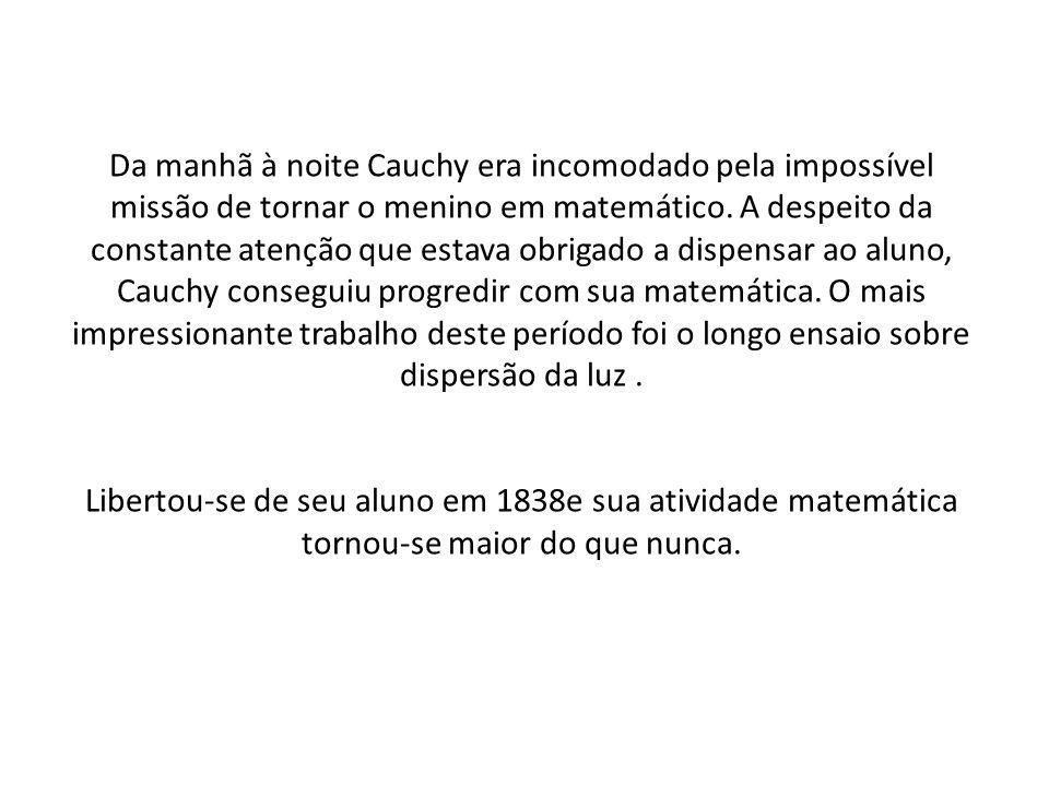 Da manhã à noite Cauchy era incomodado pela impossível missão de tornar o menino em matemático.