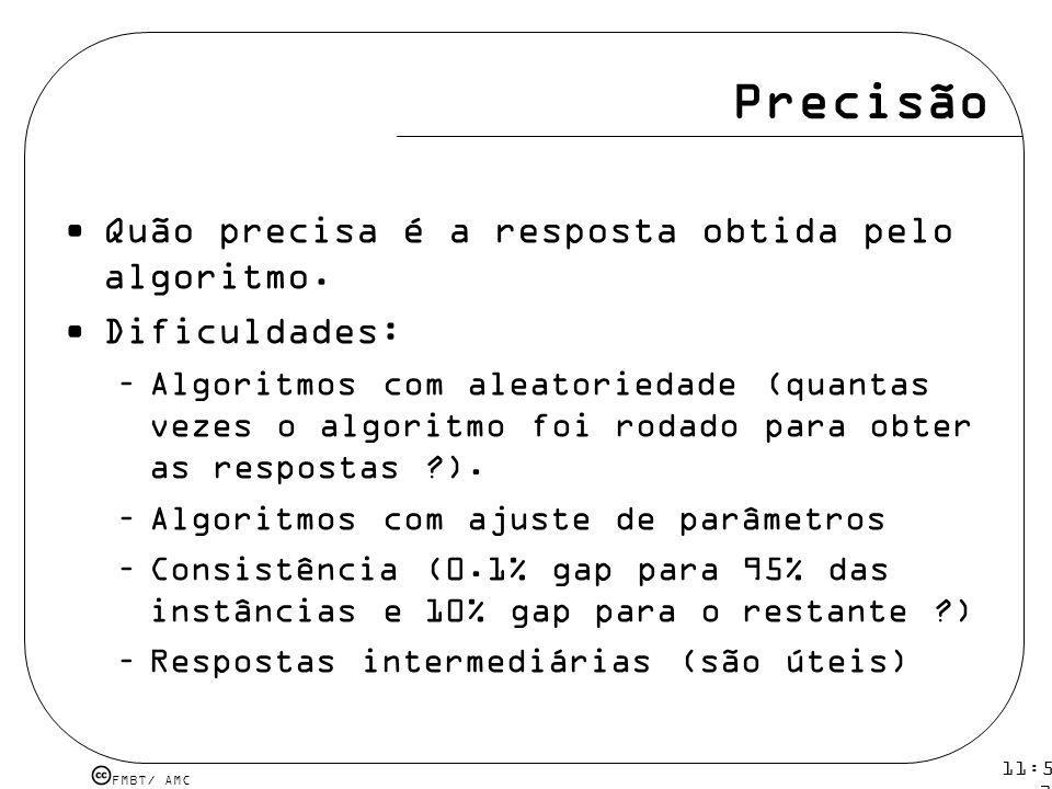 Precisão Quão precisa é a resposta obtida pelo algoritmo.