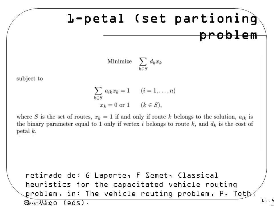 1-petal (set partioning problem