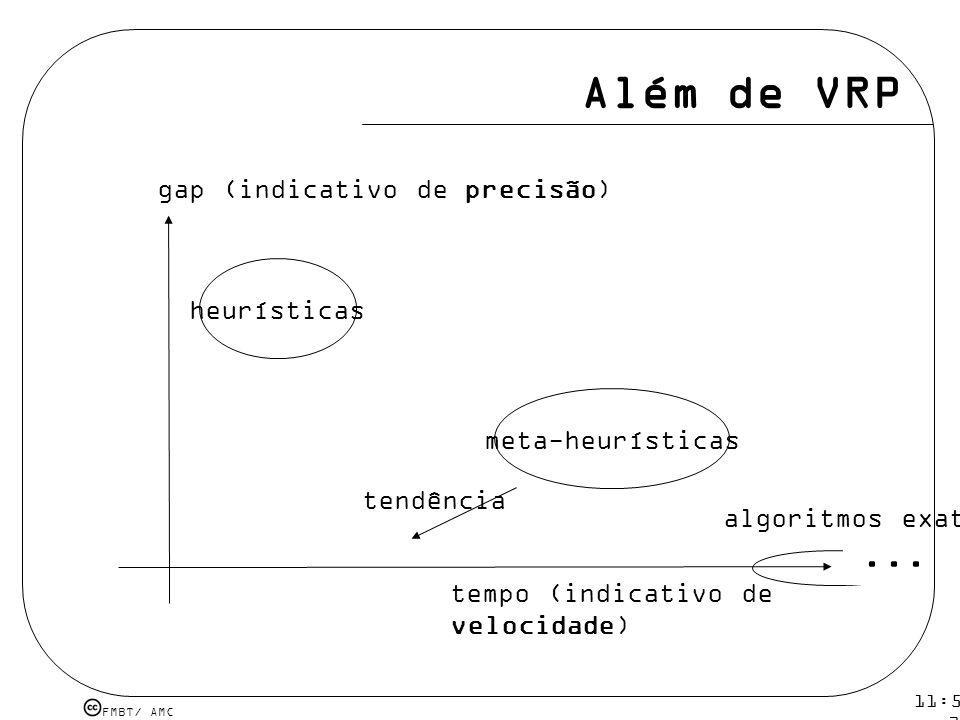 Além de VRP ... gap (indicativo de precisão) heurísticas