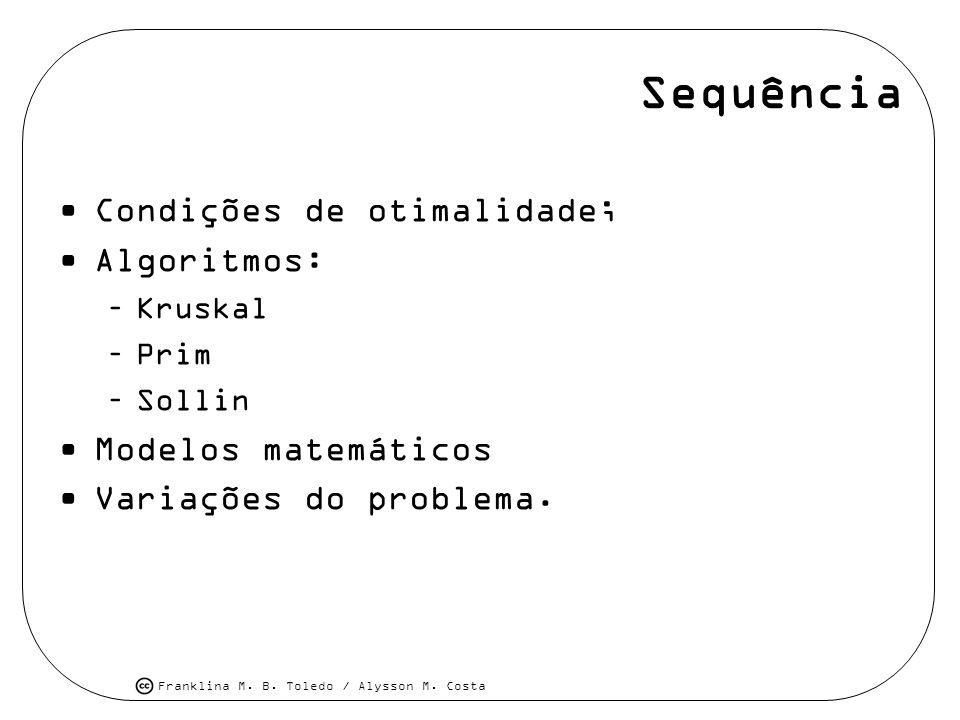Sequência Condições de otimalidade; Algoritmos: Modelos matemáticos