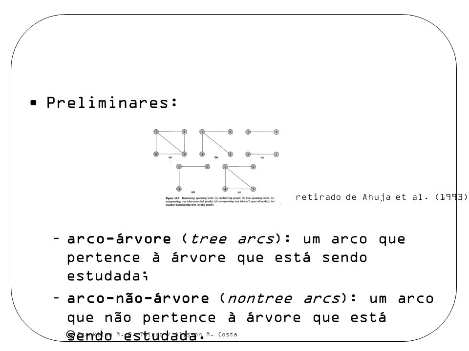 Preliminares: arco-árvore (tree arcs): um arco que pertence à árvore que está sendo estudada;