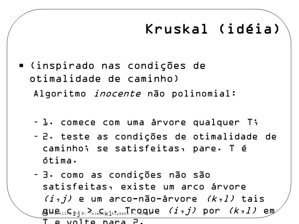 Kruskal (idéia) (inspirado nas condições de otimalidade de caminho)