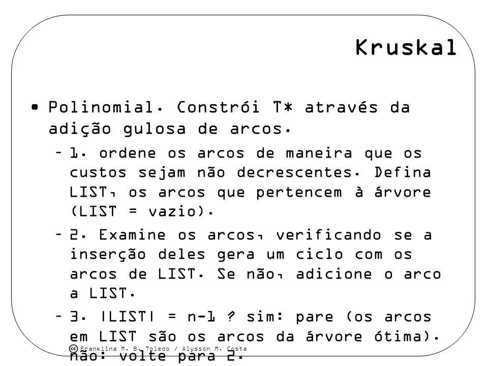 Kruskal Polinomial. Constrói T* através da adição gulosa de arcos.