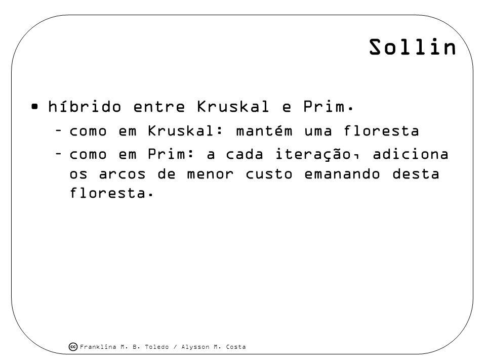 Sollin híbrido entre Kruskal e Prim.
