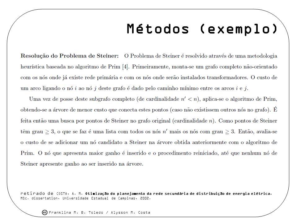 Métodos (exemplo) retirado de COSTA, A. M. Otimização do planejamento da rede secundária de distribuição de energia elétrica.