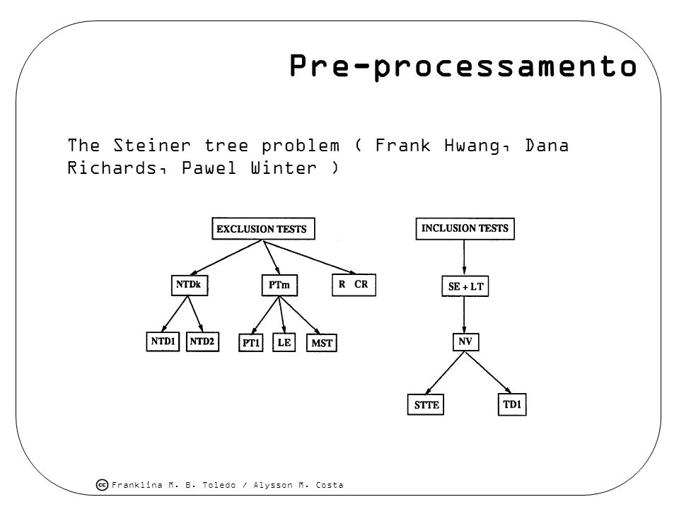 Pre-processamento The Steiner tree problem ( Frank Hwang, Dana Richards, Pawel Winter )
