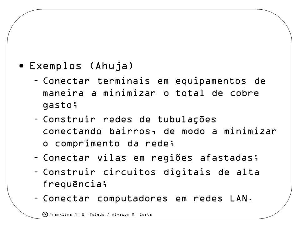 Exemplos (Ahuja) Conectar terminais em equipamentos de maneira a minimizar o total de cobre gasto;