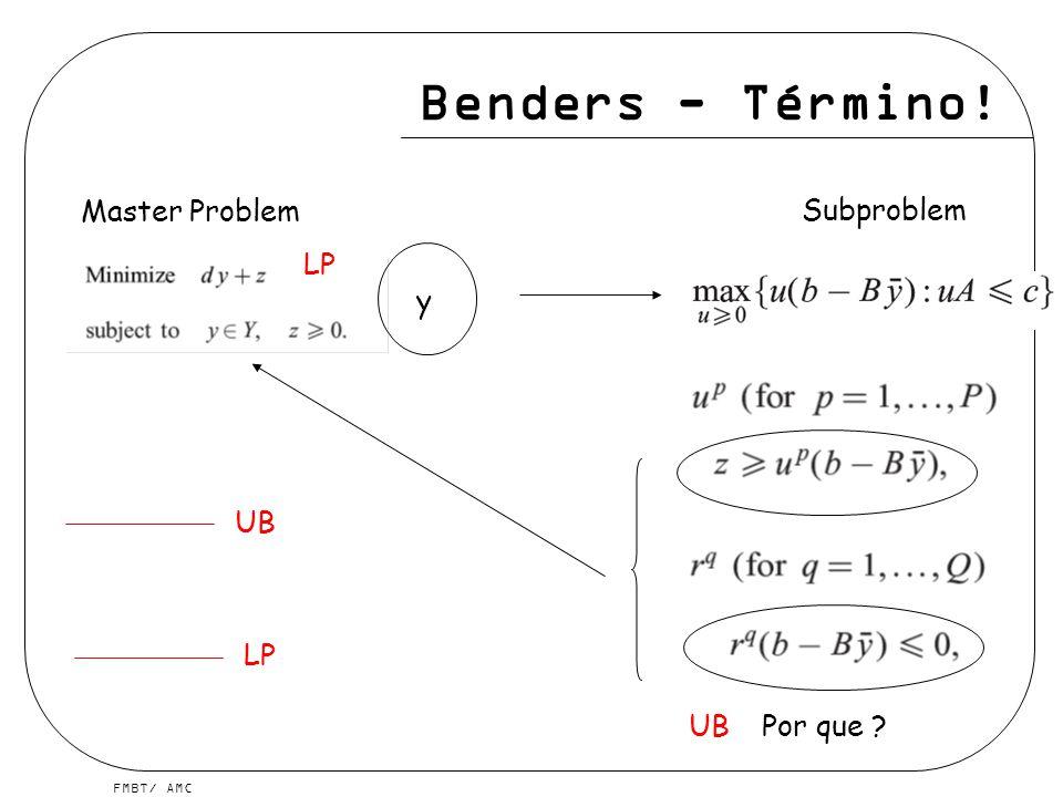 Benders - Término! Master Problem Subproblem LP y UB LP UB Por que