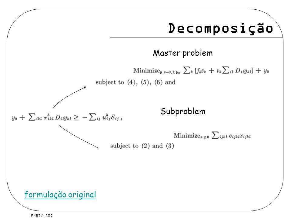 Decomposição Master problem Subproblem formulação original