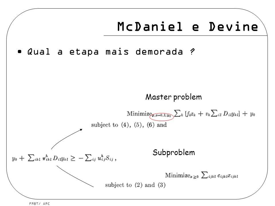 McDaniel e Devine Qual a etapa mais demorada Master problem