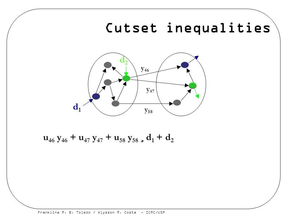 Cutset inequalities d2 d1 u46 y46 + u47 y47 + u58 y58 ¸ d1 + d2 y46