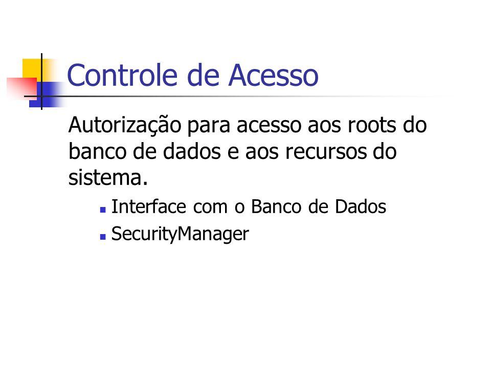 Controle de Acesso Autorização para acesso aos roots do banco de dados e aos recursos do sistema. Interface com o Banco de Dados.