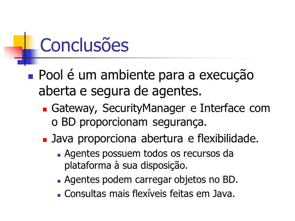 Conclusões Pool é um ambiente para a execução aberta e segura de agentes. Gateway, SecurityManager e Interface com o BD proporcionam segurança.